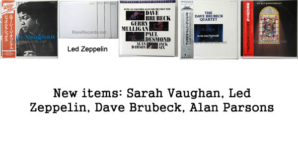 new items - sarah vaughan, dave brubeck, led zeppelin, alan parsons