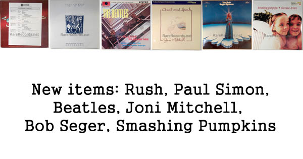 rare records - beatles, rush, bob seger, joni mitchell, smashing pumpkins, paul simon