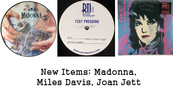 new rare records - madonna, miles davis, joan jett