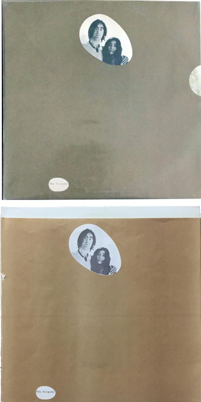Original and counterfeit copies of Two Virgins.  Note the bag that opens at the top and lacks the seal sticker
