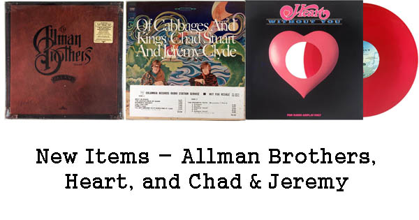 new rare records - allman brothers, chad & jeremy, heart