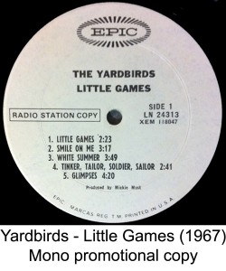 yardbirds mono white label promo