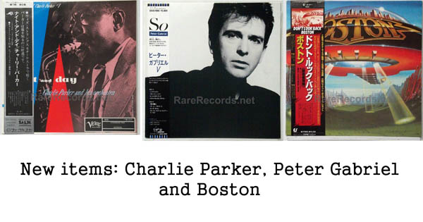 new rare records - charlie parker, peter gabriel, boston