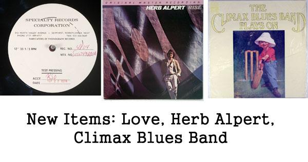 rare records - herb alpert, climax blues band, love