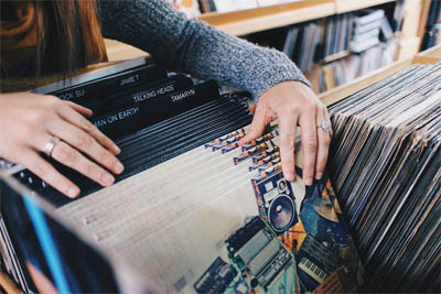 young people with vinyl records