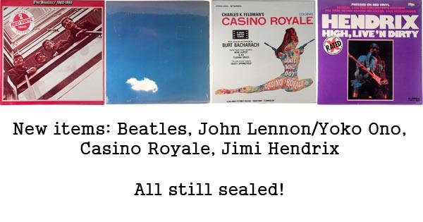 new items - beatles jimi hendrix, casino royale, john lennon
