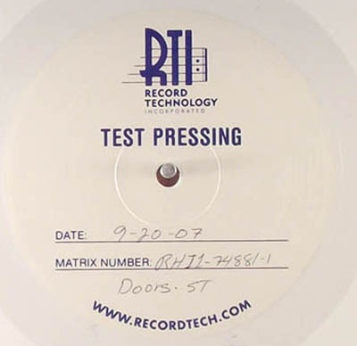 A colored vinyl album by the Doors, issued only as a test pressing