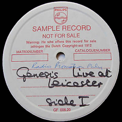 genesis test pressings
