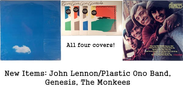 new items - john lennon, genesis, the monkees