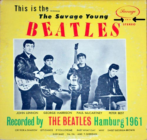Savage Young Beatles counterfeit.  Note the red catalog number (arrows)