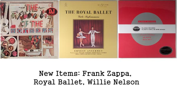 new items - zappa, royal ballet, willie nelson