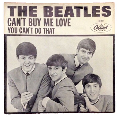 A rare Can't Buy Me Love picture sleeve.