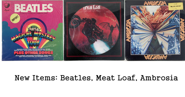 new rare records - beatles, meat loaf, ambrosia