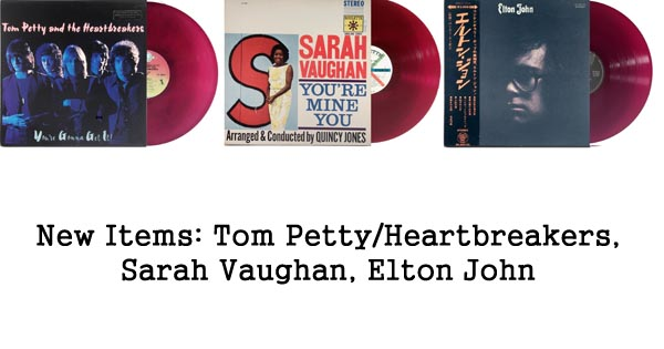 new items rare records, tom petty, sarah vaughan, elton john