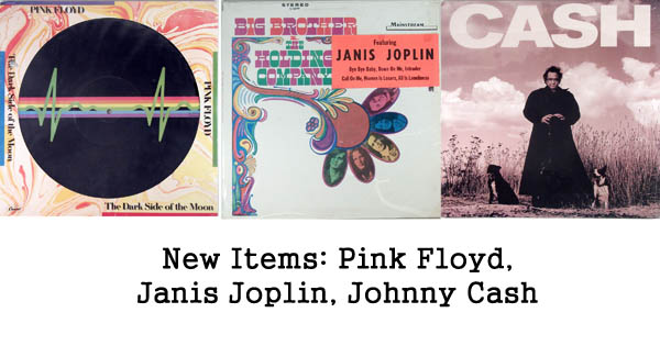 new items rare records, pink floyd, janis joplin, johnny cash