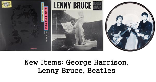 new items rare records, george harrison, lenny bruce, beatles