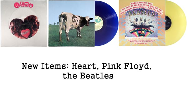 new items rare records, beatles, pink floyd, heart