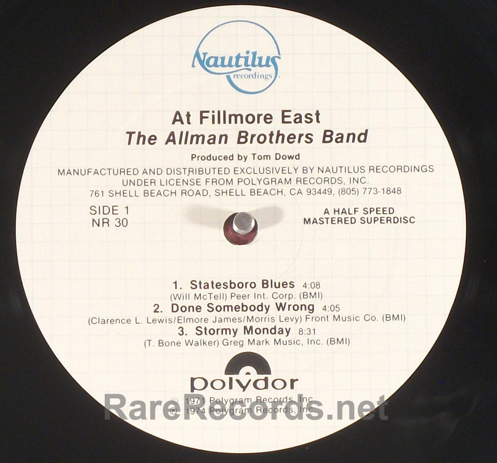 Allman Brothers - Fillmore East Nautilus audiophile 2 LP set