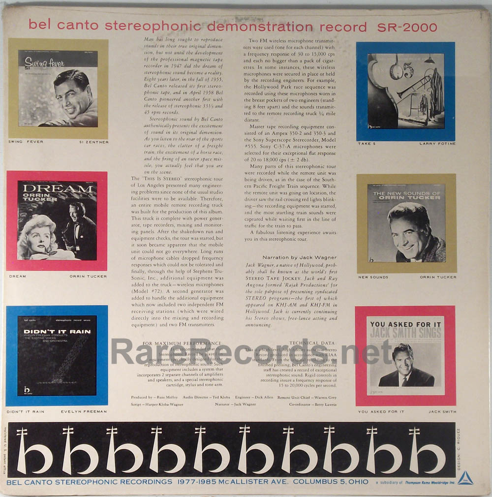 Bel Canto stereo demonstration record sealed multicolor vinyl 1959 LP