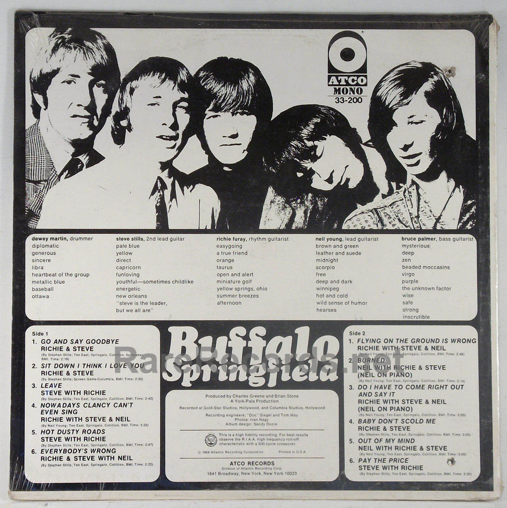 Buffalo Springfield - Buffalo Springfield sealed mono first LP with withdrawn track