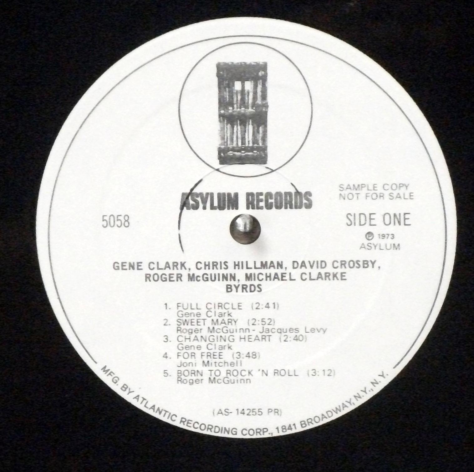 Byrds - self-titled mono white label promo 1973 reunion LP