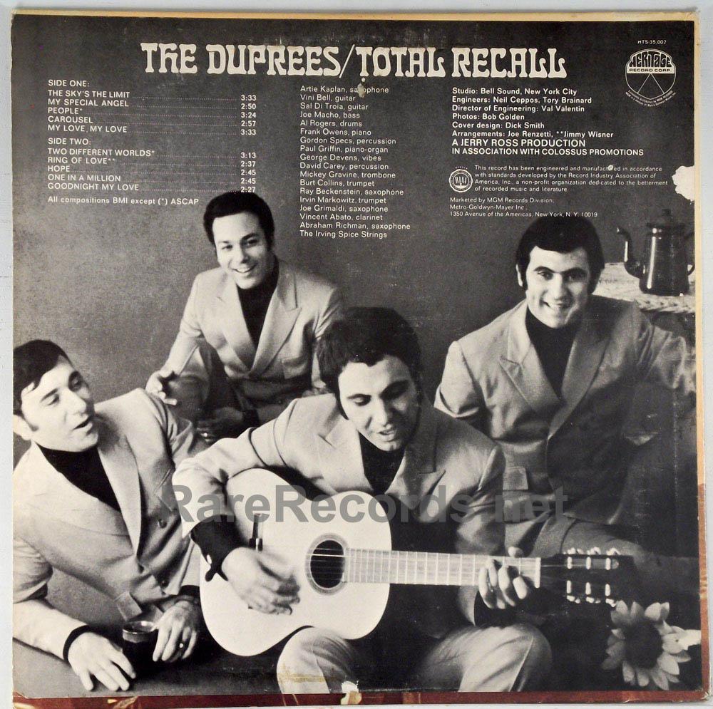 Duprees - Total Recall promo-only mono 1968 LP