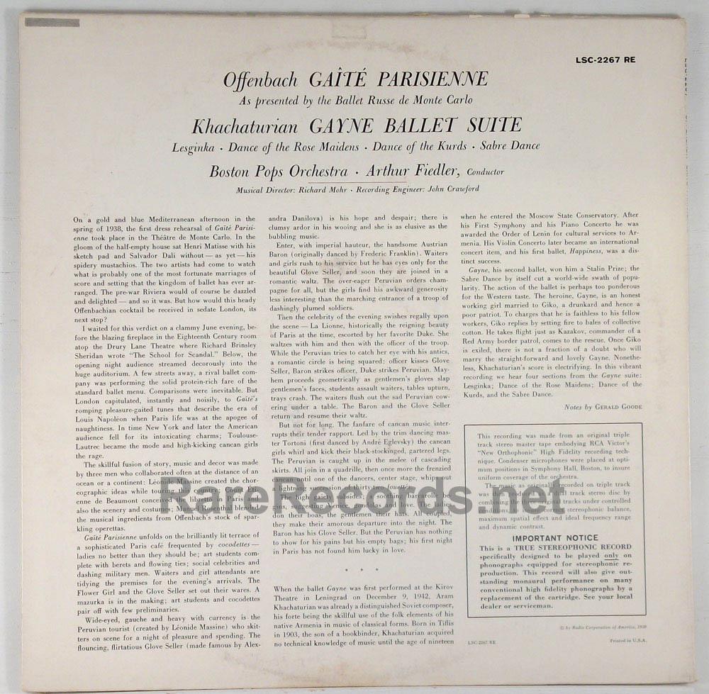 Fiedler/Boston Pops - Gaite Parisienne 1959 RCA stereo LP 22s