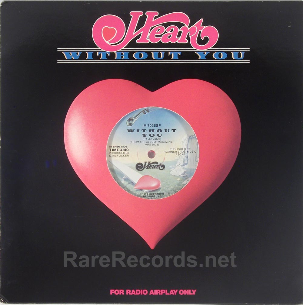 Heart - Without You mono/stereo promo-only red vinyl 12""