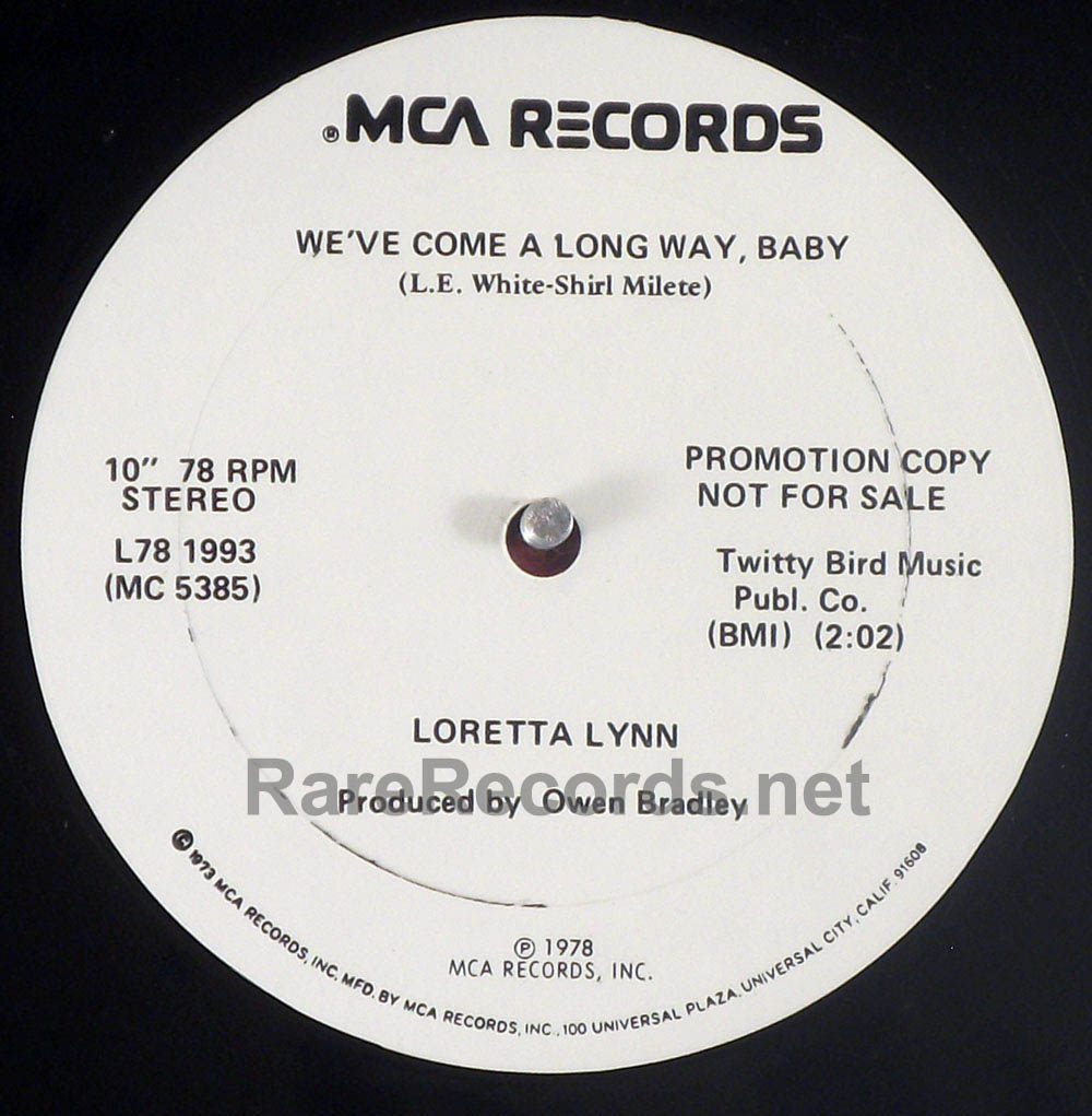 "Loretta Lynn - We've Come a Long Way, Baby rare 1978 10"" 78 RPM promo single"