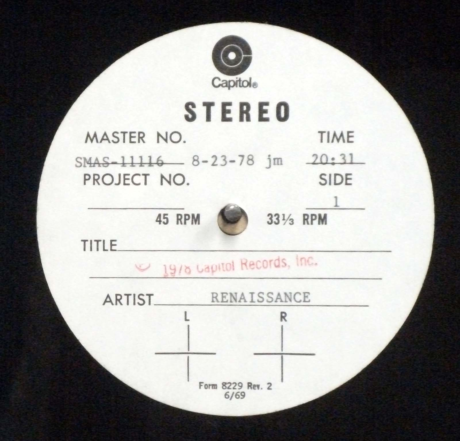 Renaissance – Prologue Capitol Records 1978 LP Acetate