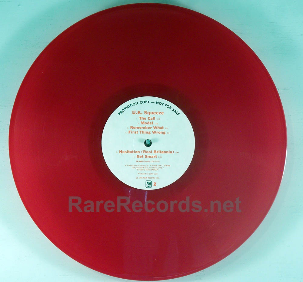 Squeeze Uk Squeeze Red Vinyl White Label Promo Lp