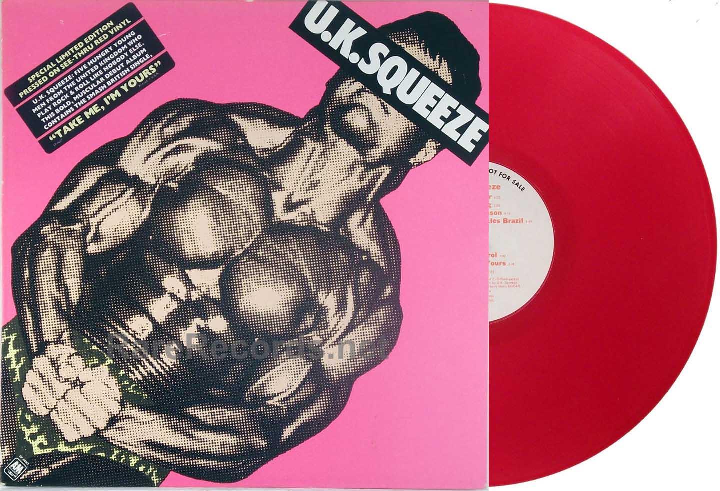 Squeeze - UK Squeeze - red vinyl white label promo LP