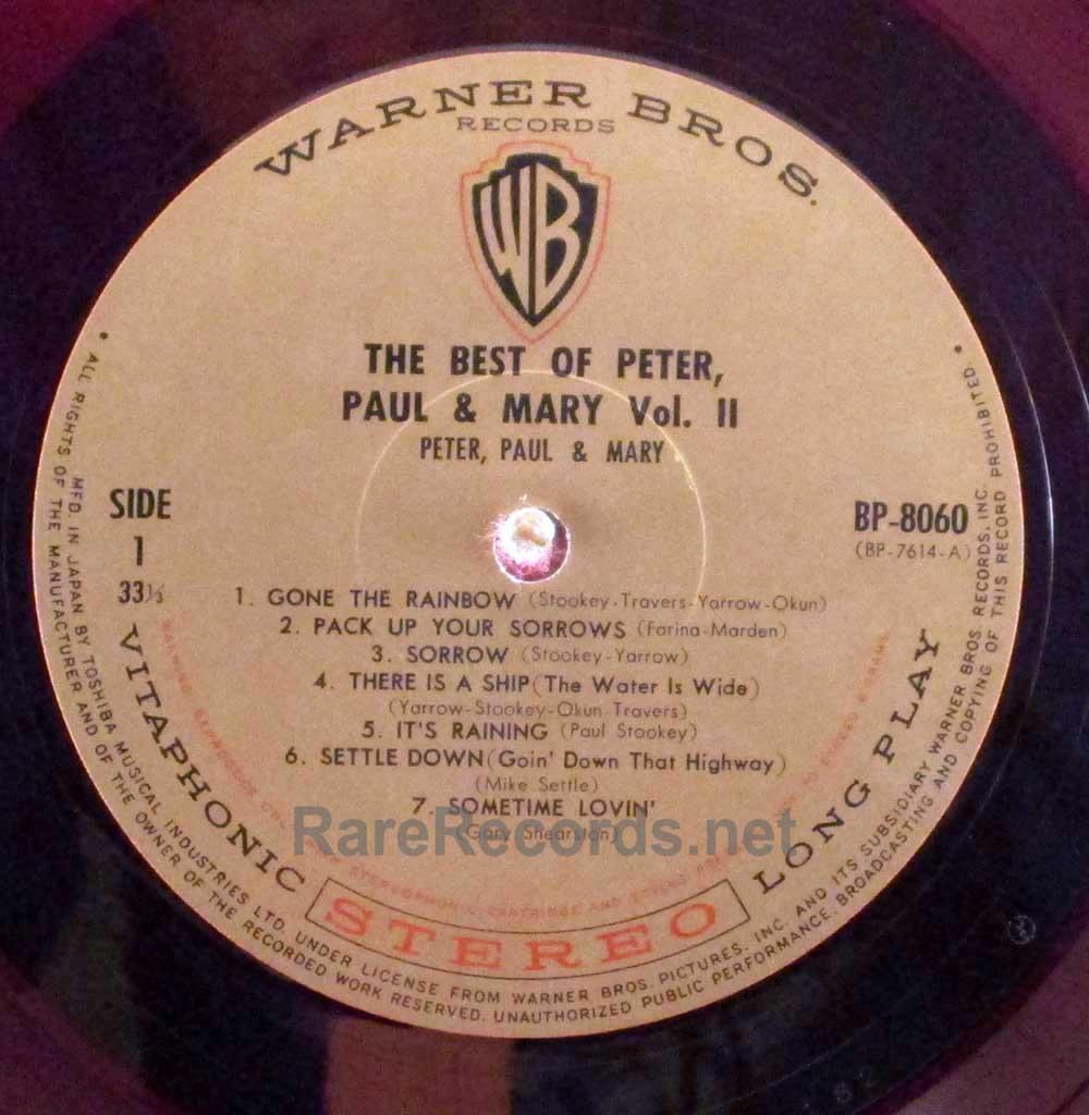 Peter Paul Amp Mary Best Of Volume 2 Red Vinyl Japan Lp