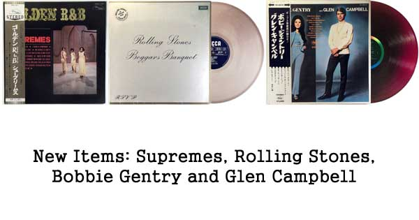 new rare records - supremes, rolling stones, bobbie gentry, glen campbell